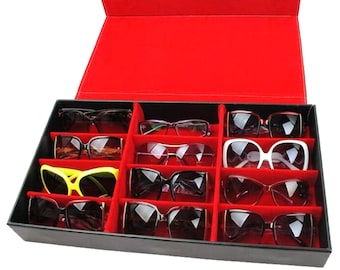 25613ea16e163 12 Slot Grid Eyeglass Display Storage Stand Case Box Holder Sunglasses  Glasses
