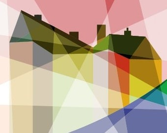 Rainbow House in Refracted Sunlight - Art Print