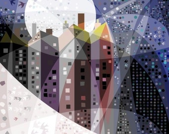 Tall Houses with Full Moon - Art Print