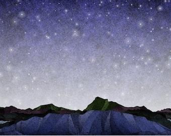 Rocky Landscape on a Starry Night (Z20196)