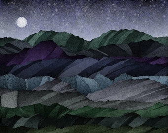 Rocky Landscape with Full Moon on a Starry Night (Z20189) - Art Print