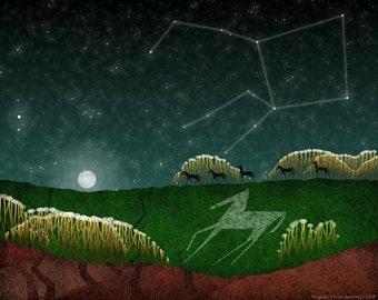 Constellations: Pegasus with Horses (494) - Art Print