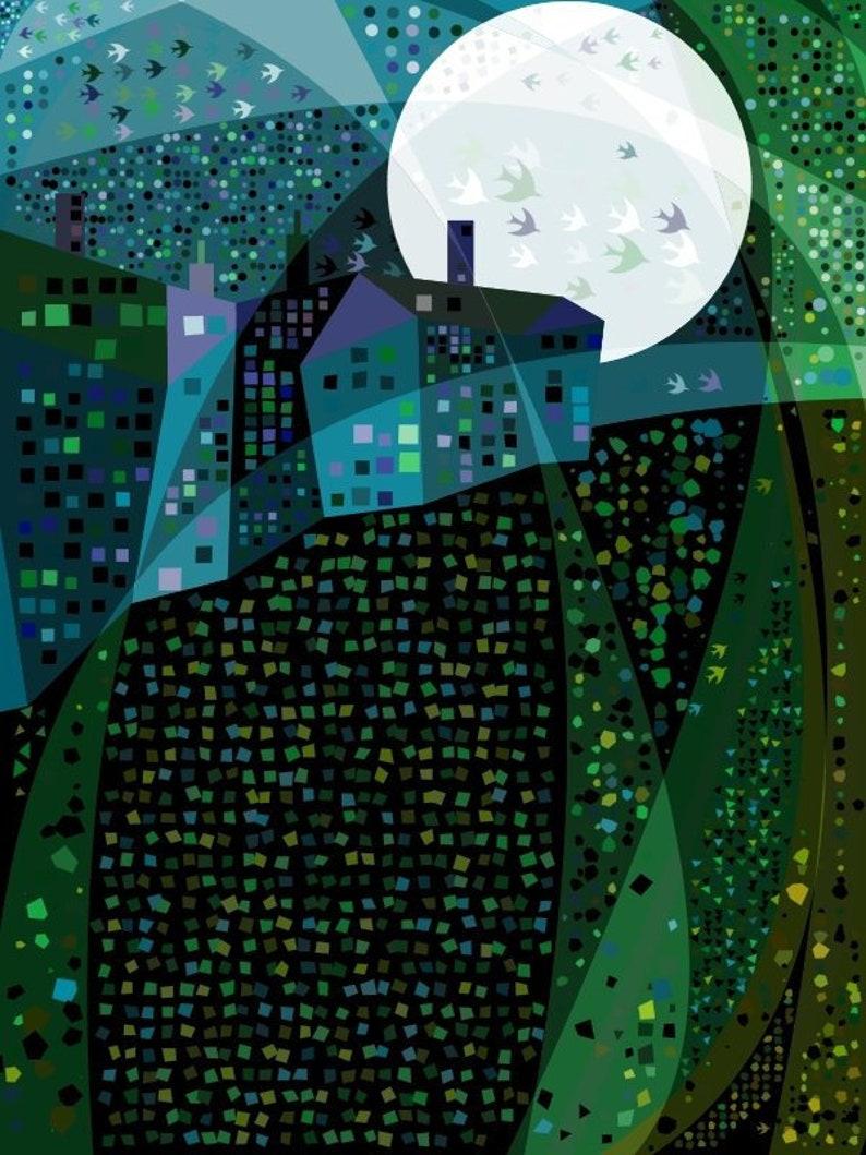 Blue House, Blue Moon - Art Print
