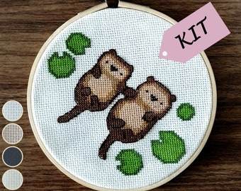 Sea Otters Cross Stitch Kit // Animal Cross Stitch Kit