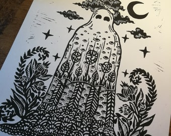 """Linogravure """"ghost planet"""" Original creation by NELL"""