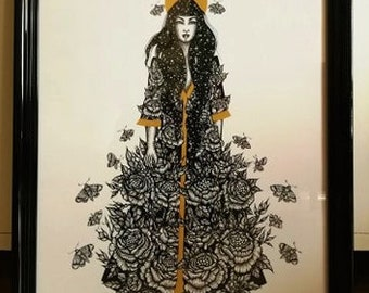 """Poster A3 """"Flowers"""" Original Illustration-Creation by NELL"""