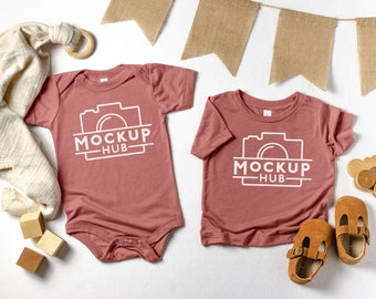 732591a02 Bella Canvas Mauve   134B and 3413B   Flat Lay One Piece Mockup   Baby Mock  Up   Bodysuit Mockups   Infant Mockup   Bella Canvas Mockup