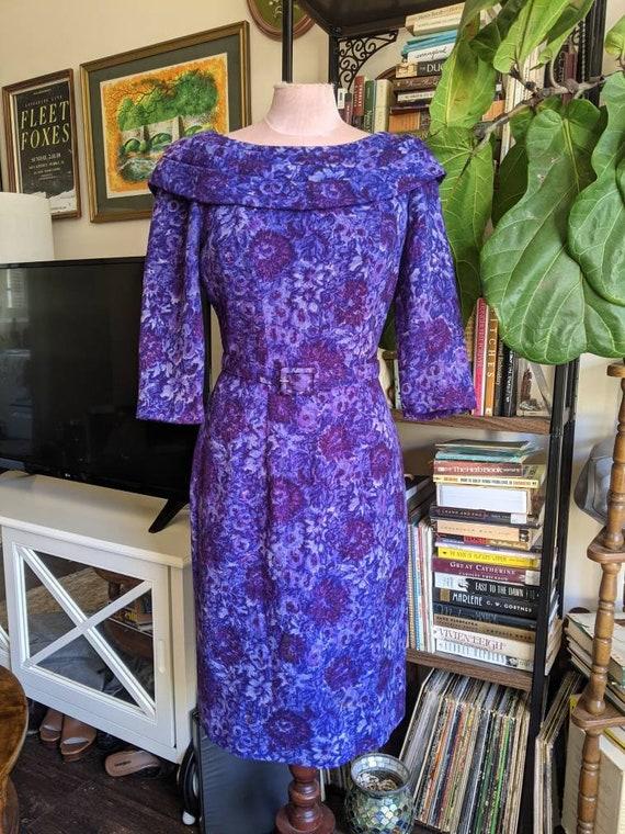 Vintage Suzy Perette Boatneck Dress Purple Tweed F
