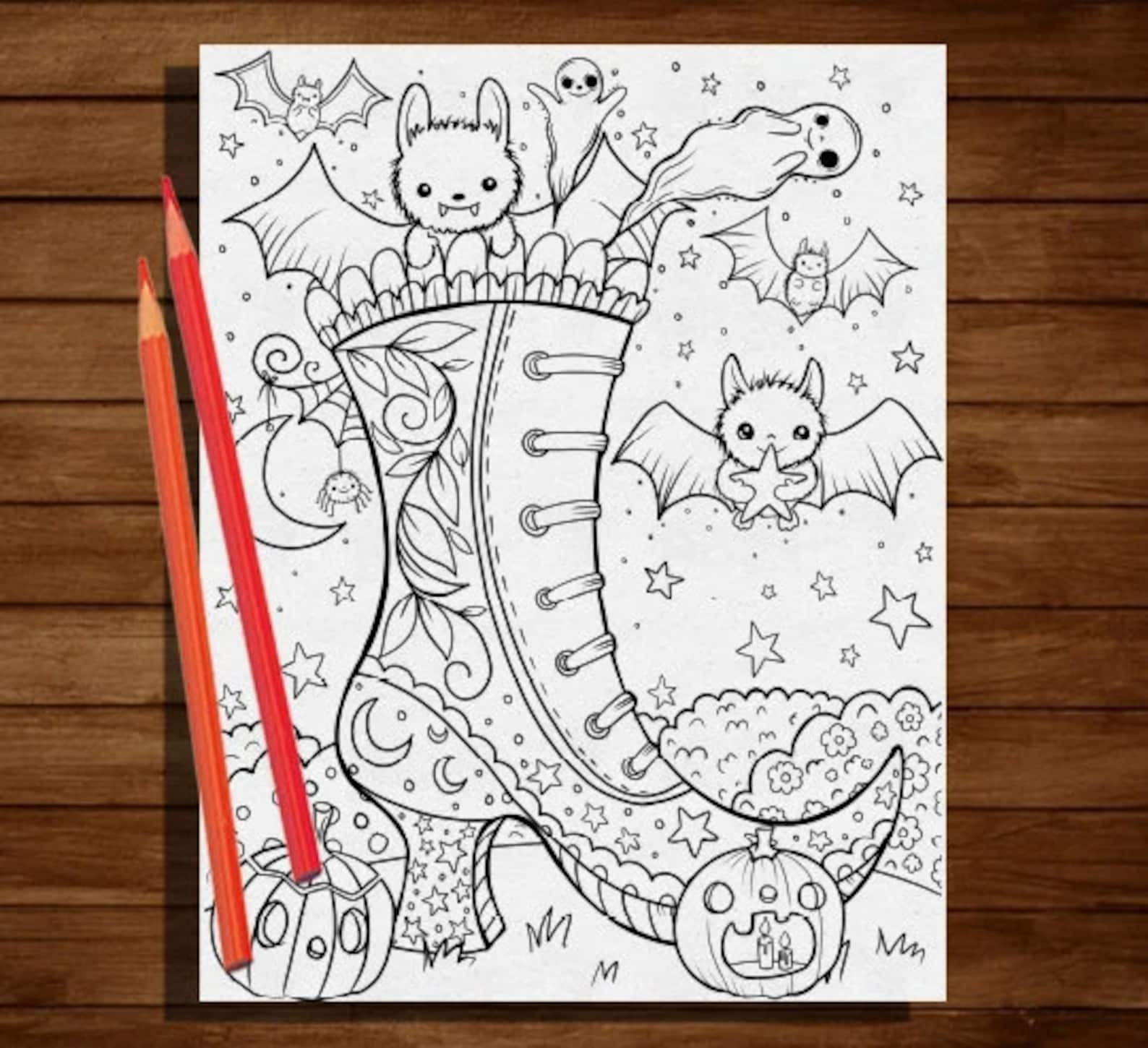 Bat witch shoe coloring page