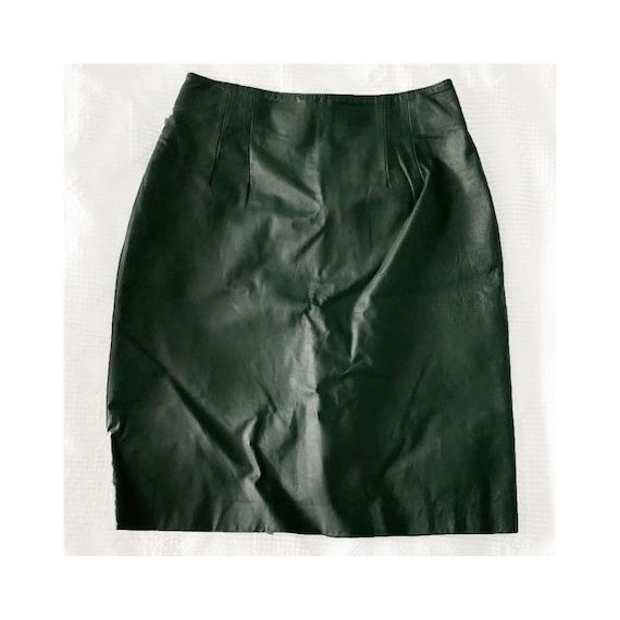 Vintage Bagatelle Leather Skirt / Size 6 / Green 1