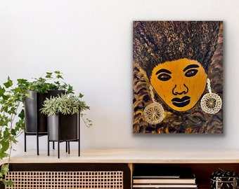 Modern abstract painting, Black woman with braids, ethnic living room decor, African American art, African art, unique gift, Black art