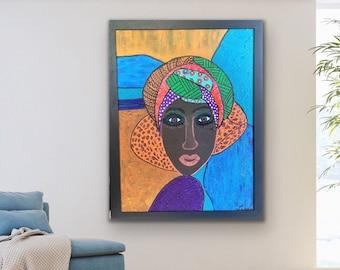 African Woman FRAMED Painting, Original art on canvas, African American wall art decor, Boho living room decor,  Black Art, unique gift idea
