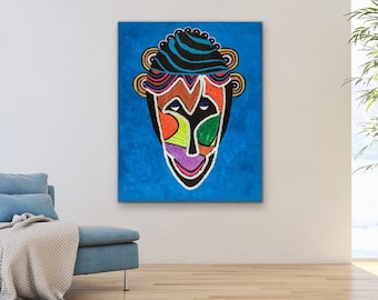 African Man mask, modern abstract art, colorful living room wall decor, Afrocentric art, Jamaican art, Rastafarians of Jamaica, unique gift