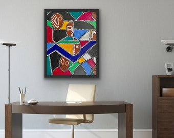 Original framed painting, contemporary acrylic painting, abstract painting on canvas, Black art, unique wall art for office, statement piece