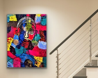 Large abstract wall painting, African woman art, ethnic living room decor, boho look, African American painting, Jamaican culture