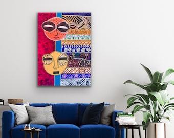 African Art, Original abstract painting, Modern home decor, African American art, Ethnic art, Black art, art for office, house warming gift