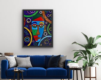 African abstract original painting, framed contemporary art, ethnic decor, African American art,  new home gift, boho look for friend,