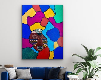 Modern abstract original painting, African tribal art, ethnic living room decor, Black art, African American painting, Jamaican art