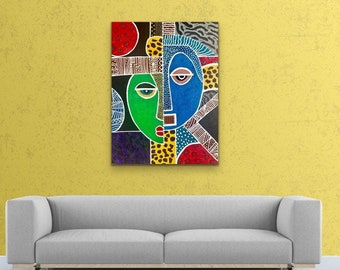 African Art, Contemporary CANVAS PRINT, Living Room Wall Art, Modern Home Decor, Trendy Art,  Black Art, Jamaican Art, Gift for Any Occasion