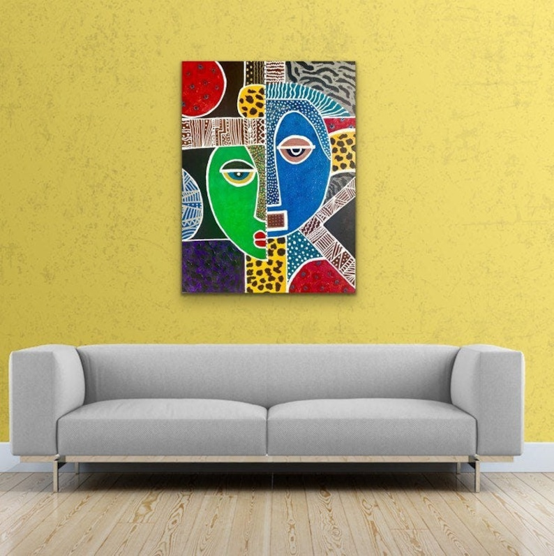 African Art Contemporary CANVAS PRINT Living Room Wall Art image 0