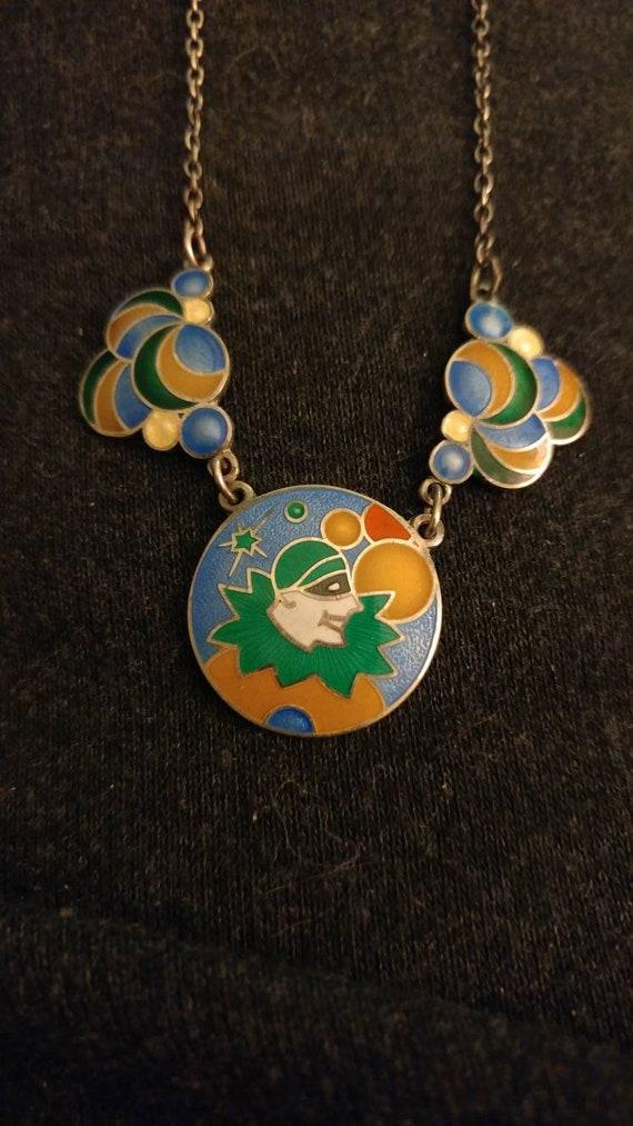 Vintage deco sterling enamel jester necklace