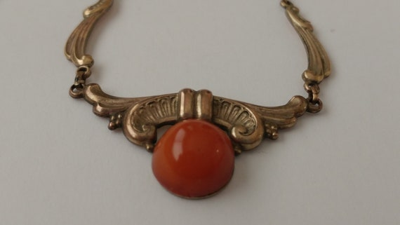 Dainty Art Nouveau Carnelian Necklace