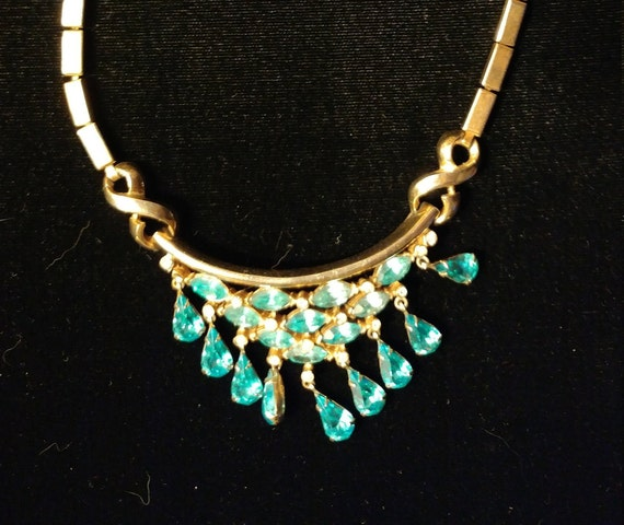 Corocraft Drippy Blue Rhinestone Necklace