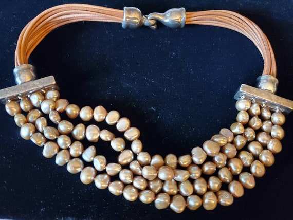 Sterling Leather and Pearl Choker