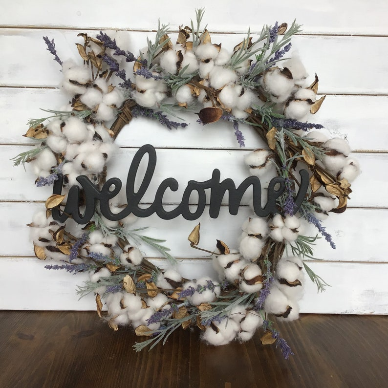 Front door wreath Welcome wreath Farmhouse cotton wreath Cotton and lavender wreath decor Farmhouse wreath decor Farmhouse decor Front door