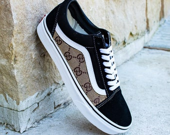 f06bc582c4 Vans Black Old Skool x Gucci Custom Handmade Shoes By Fans Identity