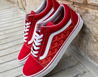 dc40d7dd45 Vans Red Old Skool x Red Goyard Custom Handmade Shoes By Fans Identity