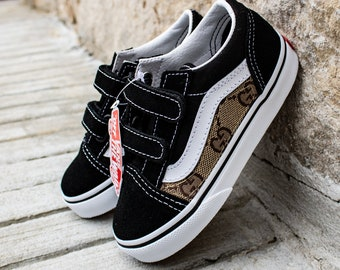 2e240adc884 Vans Black Old Skool x Gucci Custom Handmade Toddlers Shoes By Fans Identity