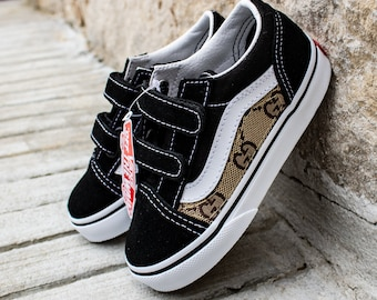 cb75ddc33ca Vans Black Old Skool x Gucci Custom Handmade Toddlers Shoes By Fans Identity