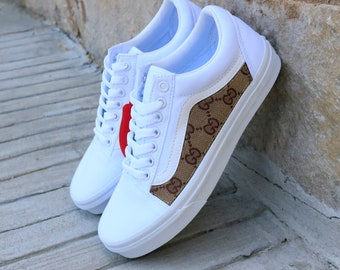 3a3c87bf9b Vans White Old Skool x Gucci Custom Handmade Shoes By Fans Identity