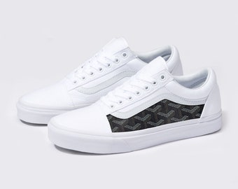 Vans White Old Skool x Black Goyard Custom Handmade Shoes By Fans Identity d359b772b