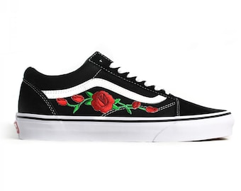 51b216f60224 Vans Black Old Skool Embroidered Red Rose Custom Handmade Shoes By Fans  Identity