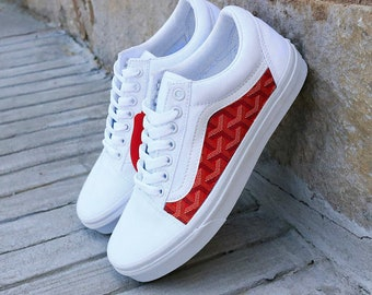 27ce8334a8 Vans White Old Skool x Red GG French Print Custom Handmade Shoes By Fans  Identity
