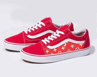 dc365ad7e74f Vans Red Old Skool x Red Monogram Custom Handmade Shoes By Fans Identity