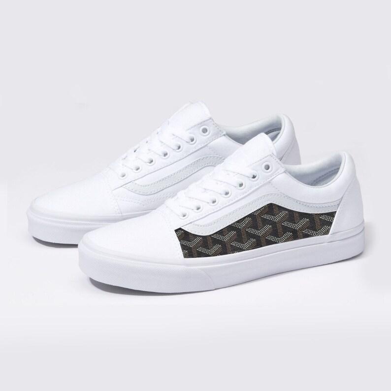 eaf3db4da46 Vans White Old Skool x Goyard Custom Handmade Shoes By Fans