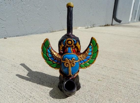 Handmade Spirit Animal Wildlife Art Natural Coconut Bowl Night Nocturnal Bird Figurine Gifts for Smokers Black Owl Tobacco Smoking Pipe