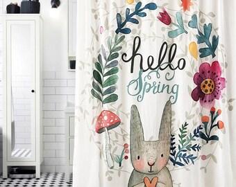 Cute Bunny Shower Curtain Set Towel Carpet And Hooks