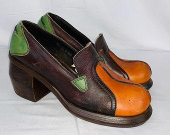 87b6e177ef7 Original 70 s Vintage All Leather Hippie Rocker Disco Big Stacked Heel Platform  Shoes 7.5 B