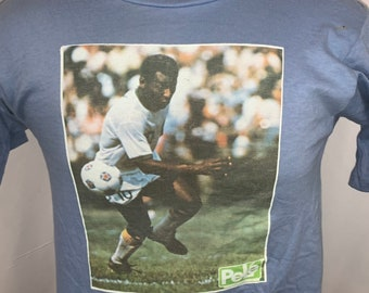 60b5652dd75 Vintage 1975 Pele New York Cosmos NASL Double Sided Graphic Soccer T Shirt  sz M