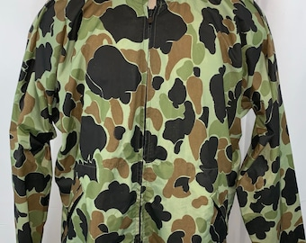 a90be733db9e8 Vintage 80's Columbia Nylon Black Green Brown Duck Camo Full Zip Jacket sz L