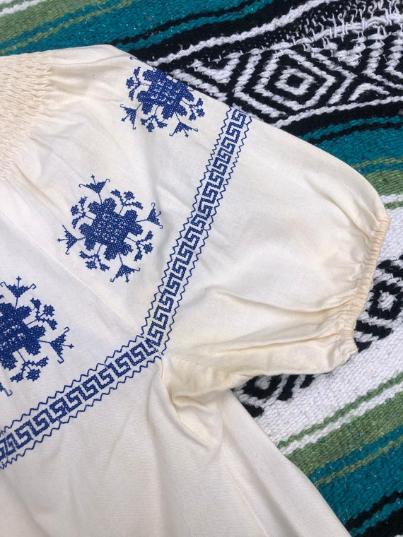 Vintage Hungarian Ruffled Off Shoulder Embroidere… - image 5