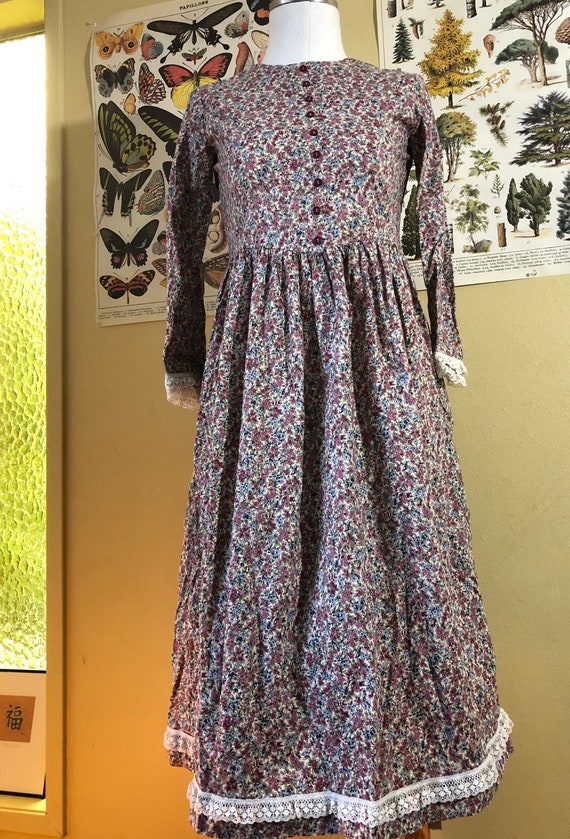 Vintage Prairie Calico Peasant Floral Print Long S