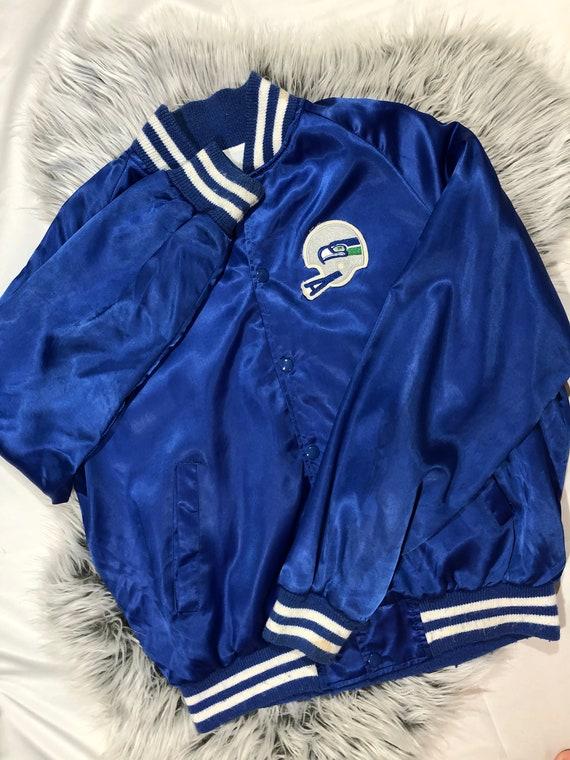 Vintage Seattle Seahawks NFL Blue Satin Bomber Jac