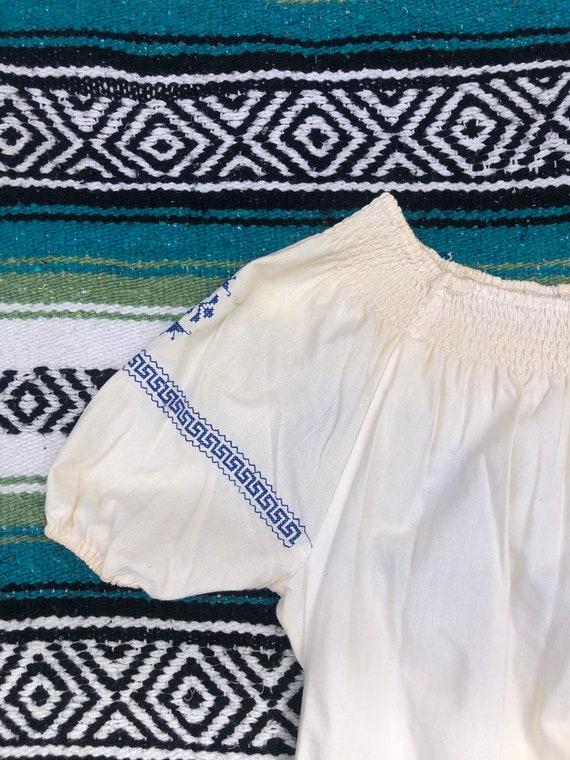 Vintage Hungarian Ruffled Off Shoulder Embroidere… - image 4