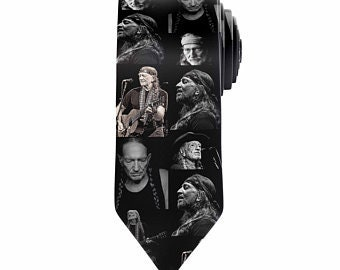 Willie Nelson Tie Custom Tie Sublimation Printed Black & White Willie Nelson