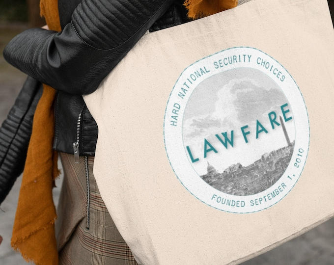 Lawfare Badge large organic tote bag